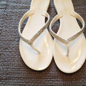 Bamboo white embellished flip flops size 8